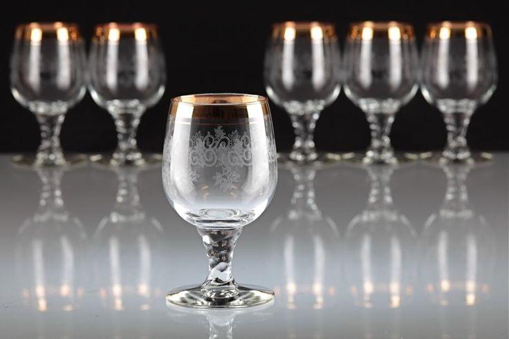 6 Vintage Weißweingläser Weingläser Goldrand Ätzdekor Murano Stiel gedreht W7B