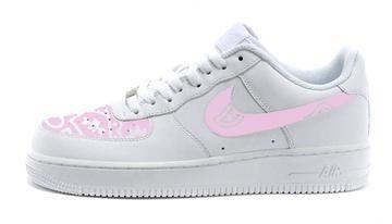 the latest 0e243 fcc0f Bandana Fever Pink Bandana Print Custom White Nike Air Force Shoes