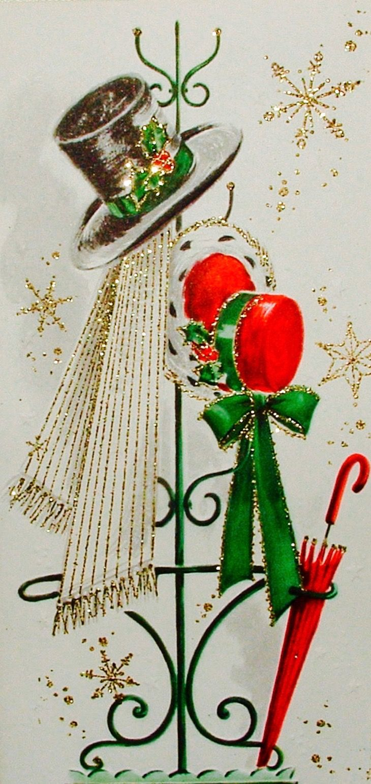 Christmas Hats, Vintage Christmas Card, Retro Christmas Card, Mod Christmas