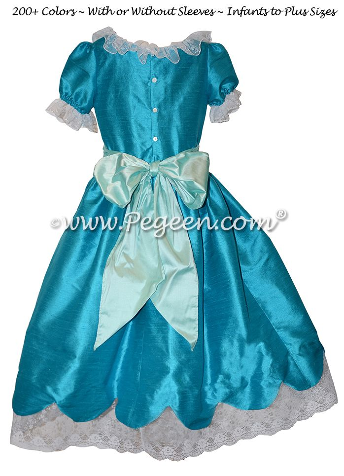 Nutcracker Dresses - Nutcracker Costumes for Clara or Party Scene Dancers  Mosaic (teal) and Pond (aqua) Silk Nutcracker Dress for Clara and the Party Scene Style 724