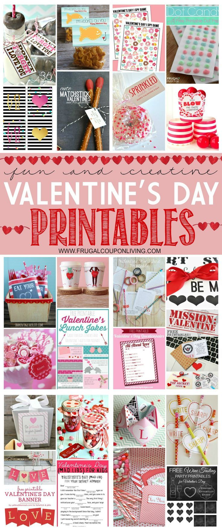 28 Fun and Creative Valentine's Day Printables on Frugal Coupon Living. FREE Valentines, FREE Crafts, FREE Recipes.