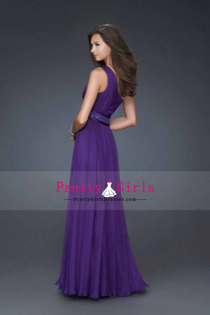 One Shoulder Floor Length Chiffon Zipper Up Back Sleeveless With Sash/Ribbon CAD 188.57 PGDP4MTQZK8 - PrettyGirlsDresses.com