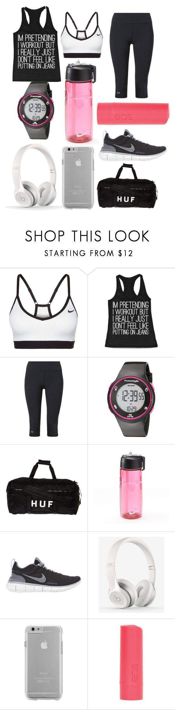 """""""Workout!"""" by tainaortiz ❤ liked on Polyvore featuring NIKE, Under Armour, Freestyle, HUF, Beats by Dr. Dre, Case-Mate, dELiA*s and plus size clothing"""