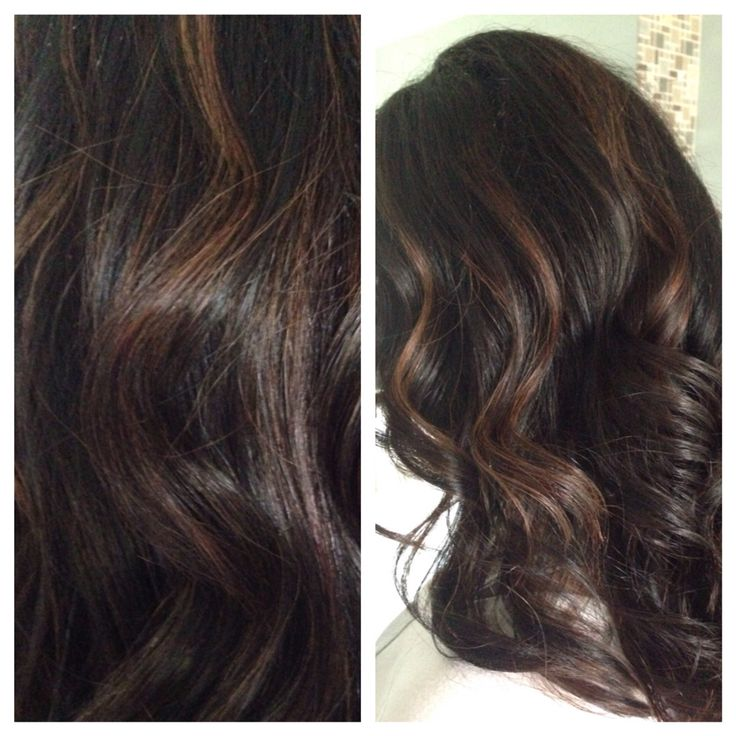 Darkest brown hair with cocoa brown hilites