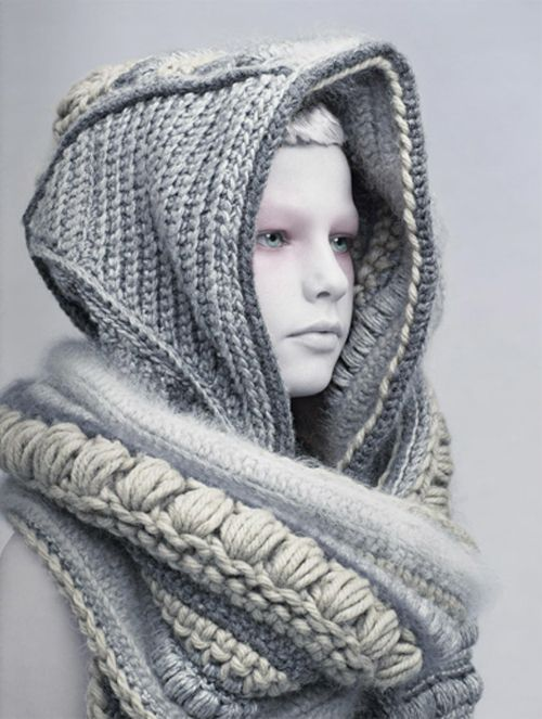 love the texture, the different stitches and yarns, the muted colors...this is really dramatic and terrific