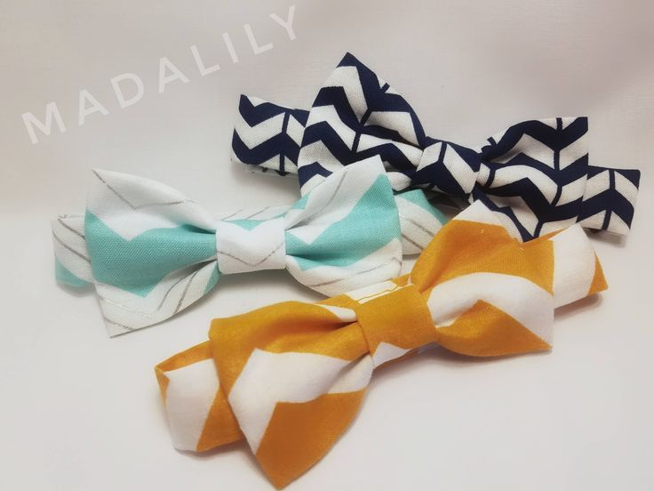 Children's chevron bow-ties, bow-ties with velcro, adjustable bow-ties, navy blue, orange, light blue with silver, little man bowties by BowtiqueByNicole on Etsy