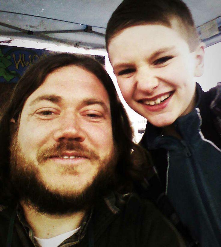 """Jeff & """"little Jeff"""" of @rootsdownfarm #vendor #selfie on opening day. #wemeanlocal"""