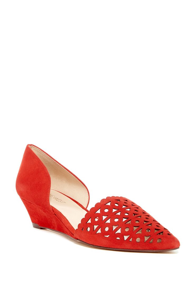 Cutout Pointy Toe Wedge Pump - Wide Width Available