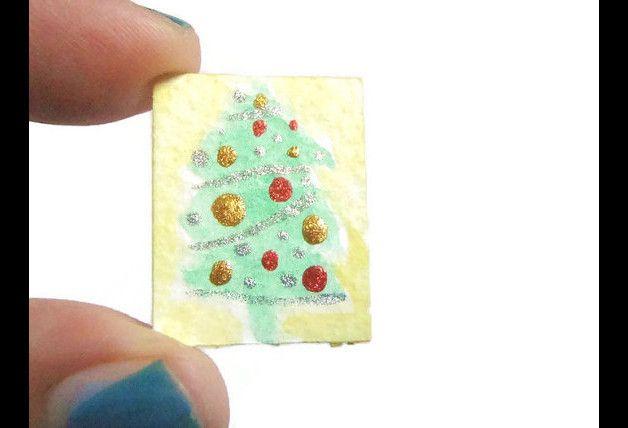 Acquarelli - albero di natale miniatura dipinto smalto unghie a - un prodotto unico di LaSoffittaDiSte su DaWanda
