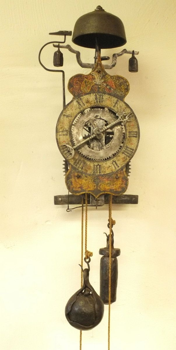 A very scarce and early German Wall Clock with original Foliot-Escapement, circa 1550, heigth 42 cm