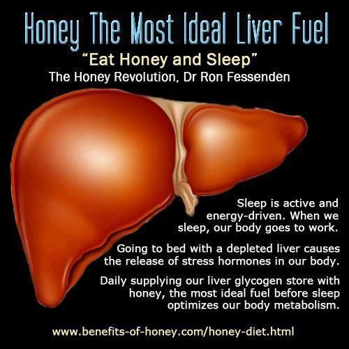 "To replenish your liver for optimal metabolism -- ""Eat honey and sleep."" The case for a cup of tea with honey (and lemon) before bed just stronger."