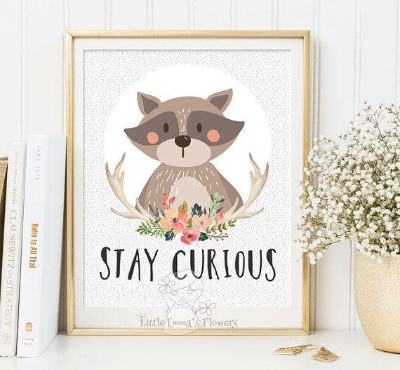 printable kid gift Stay curious Nursery wall par LittleEmmasFlowers