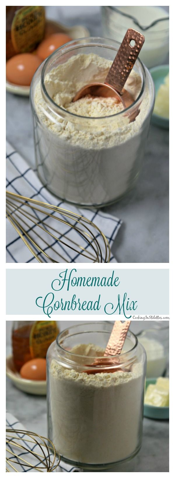 This easy Homemade Cornbread Mix from CookingInStilettos.com can be made in minutes with just a few ingredients that are already in your pantry.  This pantry staple is a must for busy weeknights when you want to make cornbread or corn muffins to go with your favorite soup, stew or chili!