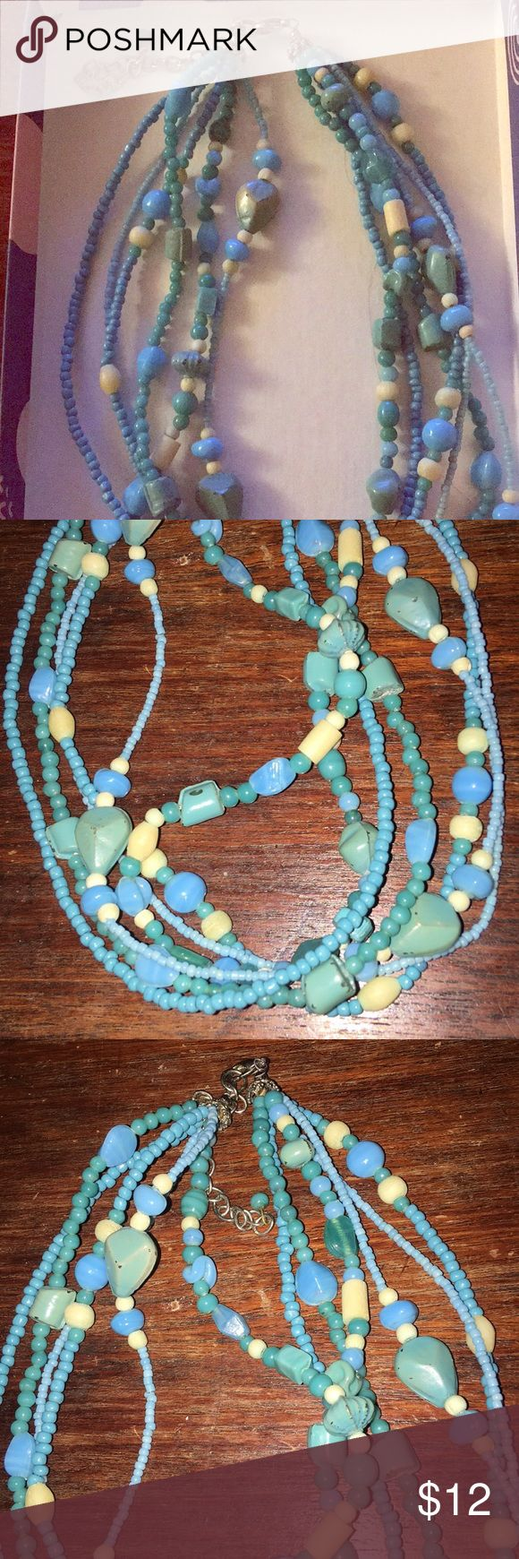 🛍2 for $20🛍 Blue and White Multistrand Necklace This listing is for one light blue and white beaded multi strand necklace. It has only been worn a few times and is like new. Reasonable offers will be considered! **BUNDLE WITH ANY 2 FOR $20 LISTING AND I WILL SEND AN OFFER WITH FHE DISCOUNTED PRICE** Jewelry Necklaces