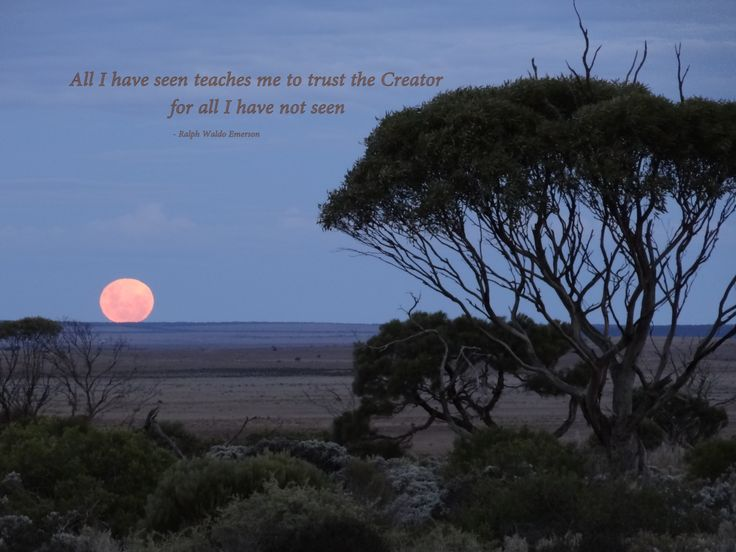 "Nullarbor Moon Rise ""All I have seen, teaches me to Trust the Creator for all I have not seen.""  Ralph Waldo Emerson"