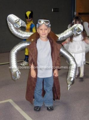 Homemade Doctor Octopus Costume: This is a Homemade Doctor Octopus Costume. Trench coat is from an old Halloween cowboy costume. Mechanical arms are made from smaller dryer vent tubing.