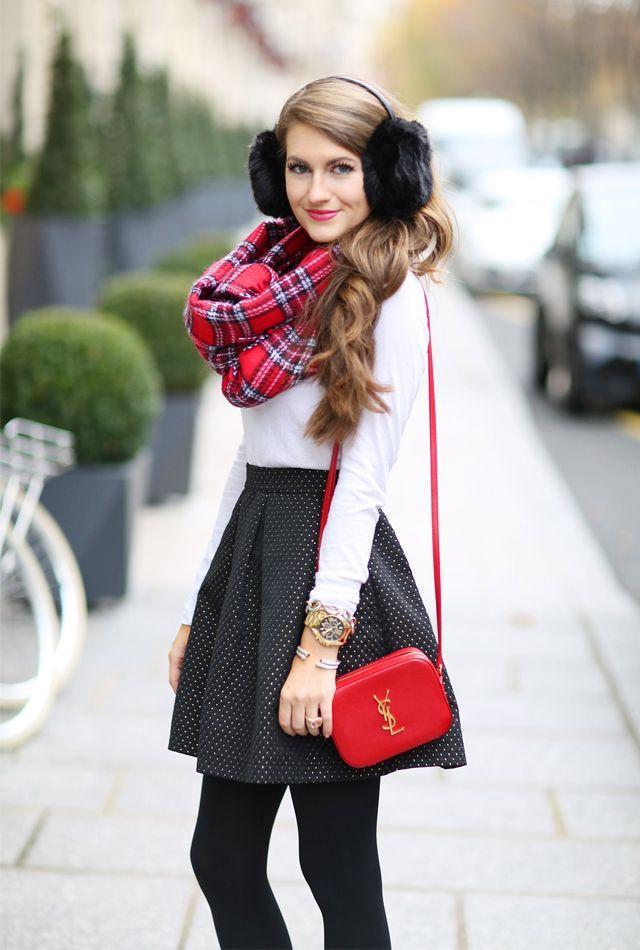 白x黒x赤のお嬢様風冬コーデ♡ イヤーマフを使ったコーデ・ファッションスタイルのまとめ。