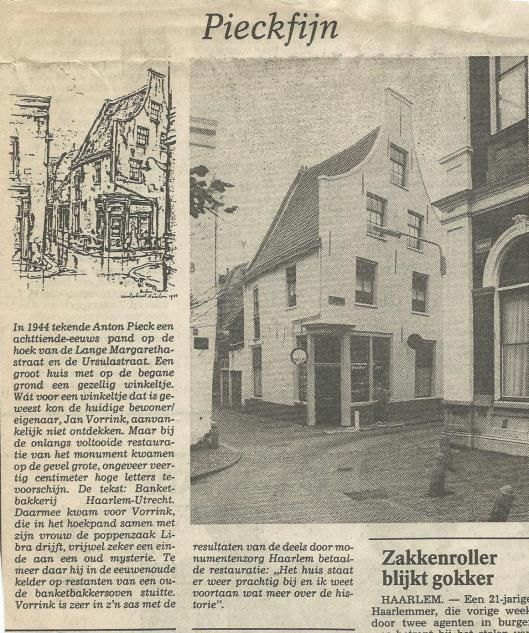 'Pieckfijn' Uit het Haarlems Dagblad van 20 november 1986