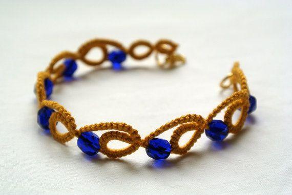Mustard tatted bracelet  Mykonos blue beaded bracelet Tatting lace jewelry Yellow and blue jewelry