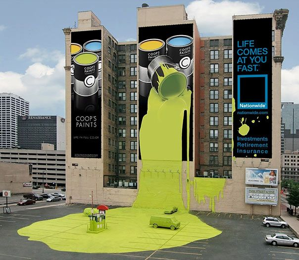 clever billboards: Coops, Nationwide Insurance, Creative, Marketing, Street Art, Advertising, Coop S Paint, Ads, Design
