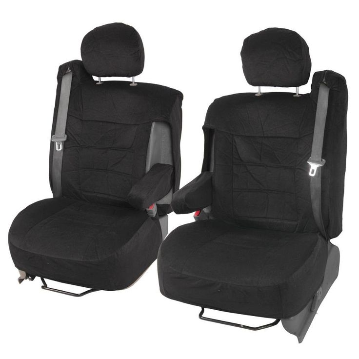 "Front Pair Truck/SUV Seat Covers ""TS"" Integrated Seatbelts - Encore Velour Cloth w/ Armrest Slot"