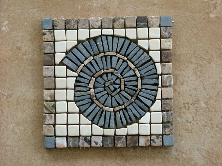 One of a series of mosaics tiles made for a client's bathroom. Marble