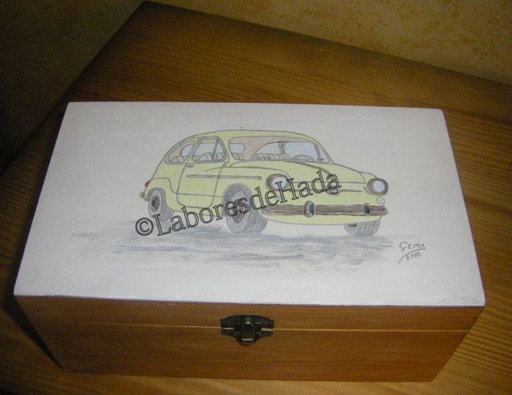 Caja de madera, pintada a pincel con dibujo de seiscientos