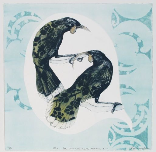 Vanessa Edwards, Me he manu rere ahau e, drypoint and gold ink on 350 x 330 mm paper, from an edition of 5, 2011. NZ$270 incl GST.