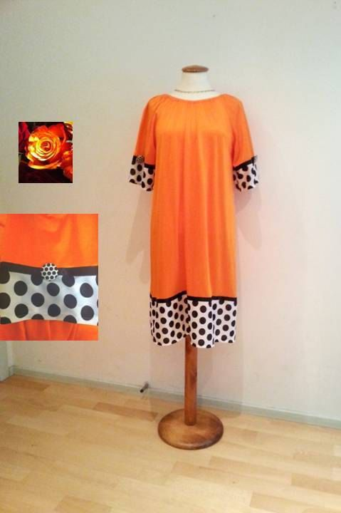 Orange tunic dress, black and white polka dot dress, womans orange dress, jersey dress, womens dresses, casual day dresses, orange dresses