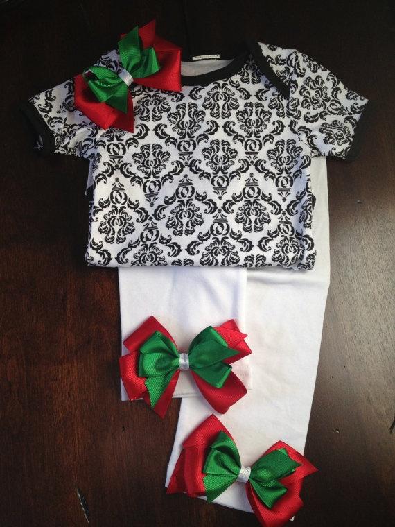 ADORABLE CHRISTMAS SET Damask Onesie Bodysuit by BabyCakesByBella, $29.95