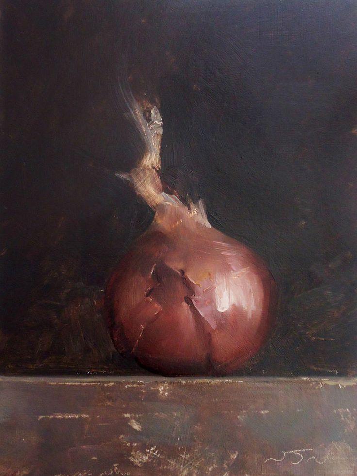 Original Oil Painting - Red Onion - Contemporary Still Life Art - Nelson