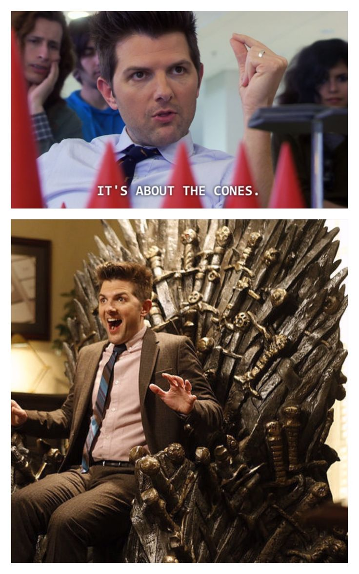 """""""It's about the cones."""" Ben would slay the game. Parks and Rec / Game of Thrones mashup funny meme"""