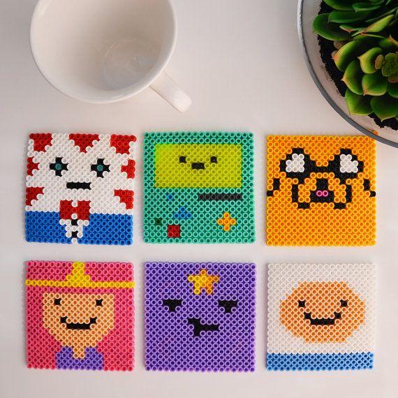 Adventure Time Perler Bead Coasters Set of 6 by MandogDesigns