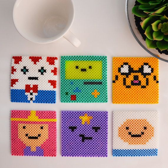Adventure Time Perler Bead Coasters Set of 6 by MandogDesigns