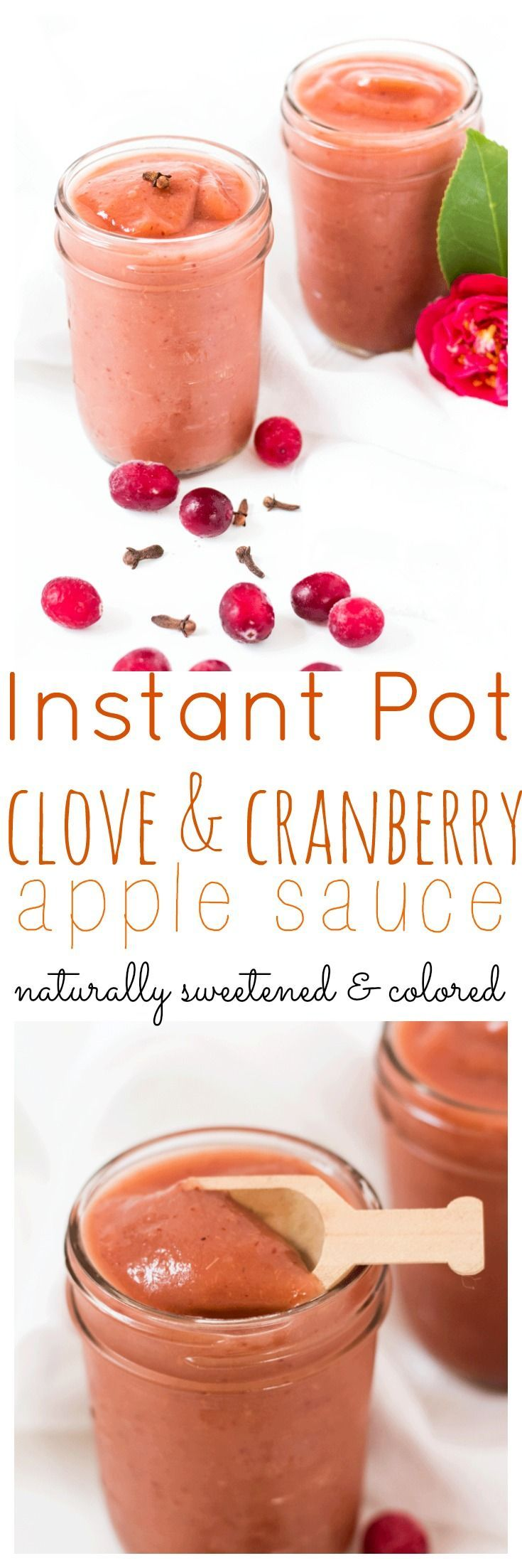 Clove and Cranberry Apple Sauce is the perfect sweetener for baked goods or a popping pink snack for little hands. Naturally sweetened via @wholefoodbellies