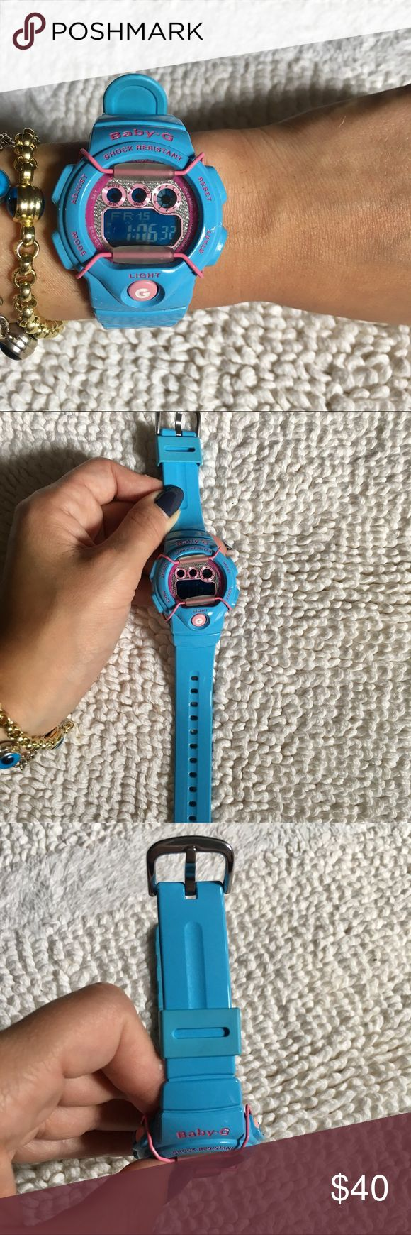 Baby-G Shock Baby Blue Baby G-Shock Watch! •Great Condition, Fully Functional  •Comes with tin box G-Shock Accessories Watches