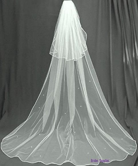 2Tier Ivory Or White Crystal Diamante Pencil Edge Cathedral Wedding Bridal Veil