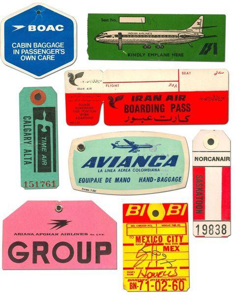Etiquettes vintage sur le thème du voyage. Pour les vieillir, passer un sachet de thé infusés pour donner un petit effet vintage.