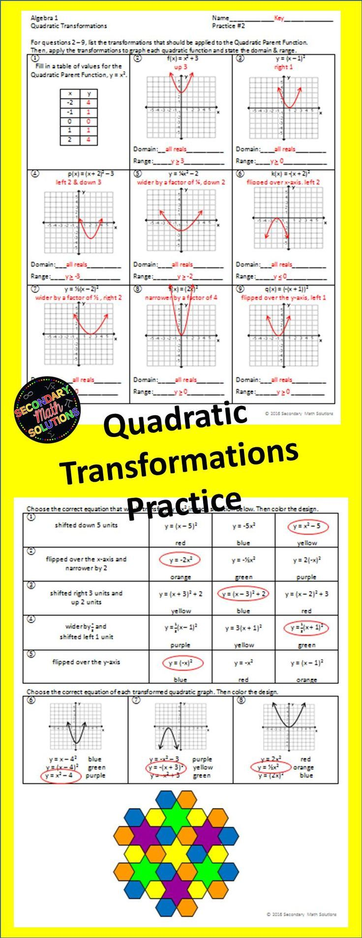 This is a double-sided practice page covering all of theQuadratic Transformations: up, down, right, left, narrower, wider, flip over x-axis and flip over y-axis. On the front, the first question asks the student to fill in a table of values for the quadratic parent function. Then, questions 2 through 9 have the student list the transformations and graph a transformed quadratic. Each equation contains either one or two transformations.