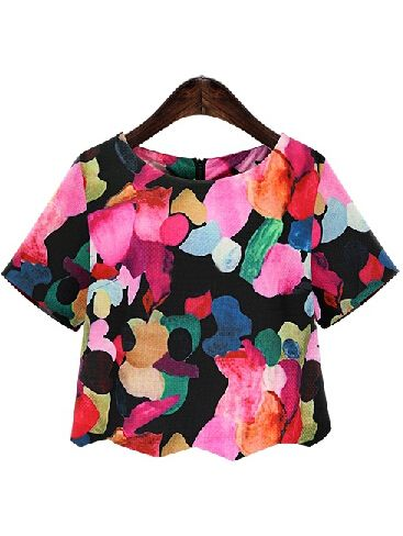 Shop Black Round Neck Ikat Neat Awesome Floral Crop Blouse online. SheIn offers…