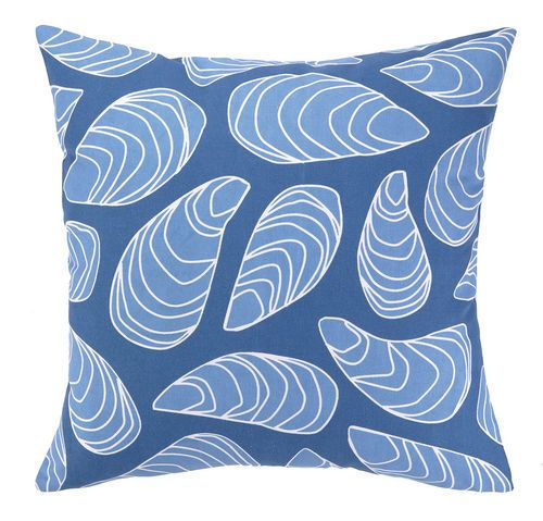 Blue mussel shells on a navy blue background make up the seaside cottage style in this charming printed outdoor water-resistant beach house pillow.