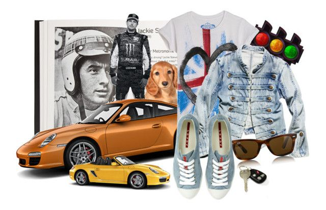 ready, set, go... by silverstrand18 on Polyvore featuring polyvore, мода, style, Prada, Ray-Ban, F, Carrera, fashion, clothing and cars