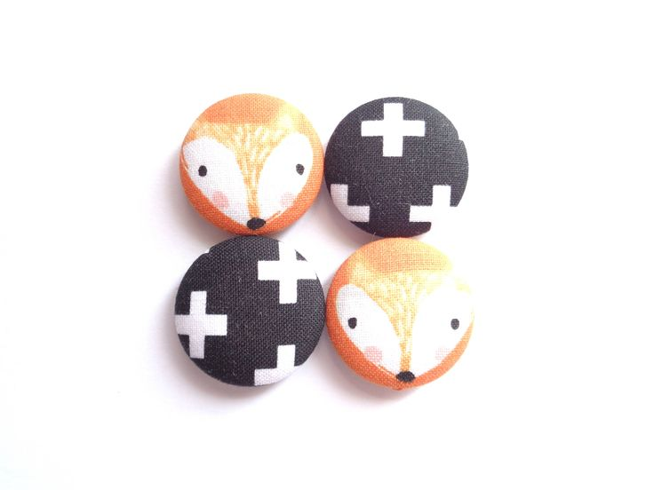 Cute Fridge Magnets, Fox Magnets, Orange Magnets, Black Magnets, Ecofriendly Magnets, Fabric Magnets, Handmade Magnets, Refrigerator Magnets by BijouxMariePuce on Etsy