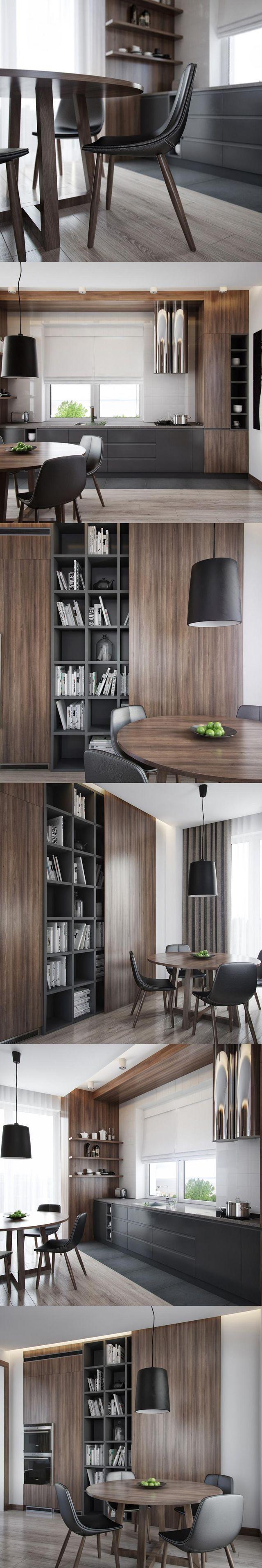 厨房:1高柜深胡桃木门板+灰色烤漆柜体,2橱柜灰色烤漆地柜+石英石台面,3白色墙砖4浅灰色木纹砖