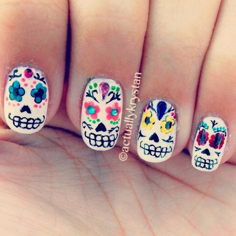 11 best halloween images on pinterest halloween nails sugar day of the dead nails prinsesfo Images