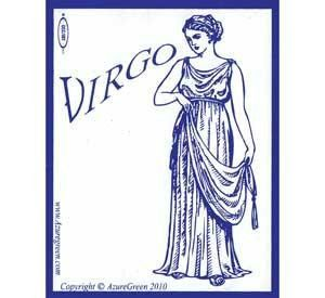 Portraying a robed maiden, this zodiac bumper sticker represents the sign of Virgo.