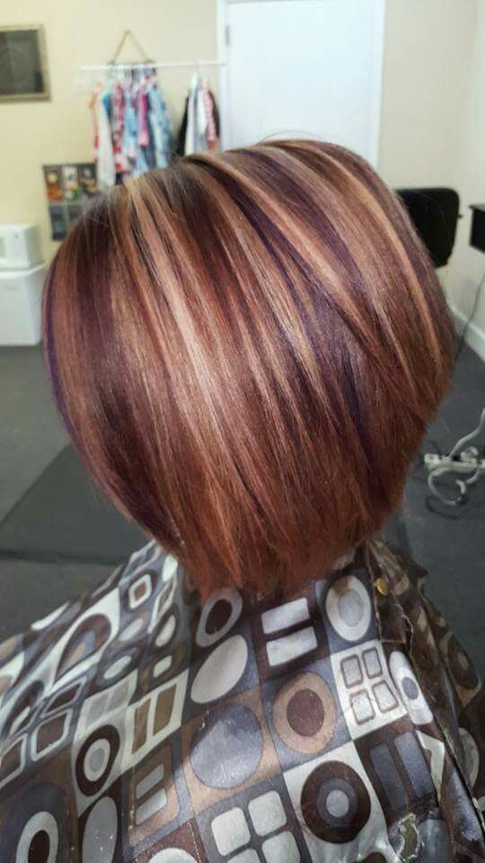 Red with blonde and purple foils!