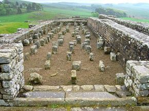 Housesteads Roman fort, Hexham, Northumberland. An auxiliary fort originally named Vercovicium, built along Hadrian's Wall circa 124 CE and abandoned 400 CE. The granary in this photo had a raised floor to keep food dry and free from vermin.