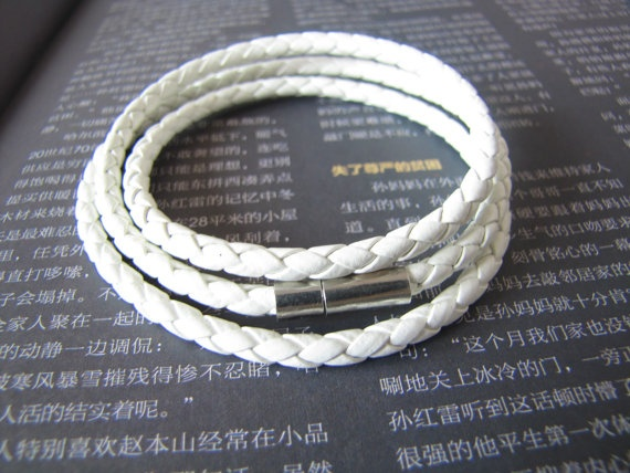 3 Circles White Leather Bracelet Adjustable Cuff by sevenvsxiao, $4.35