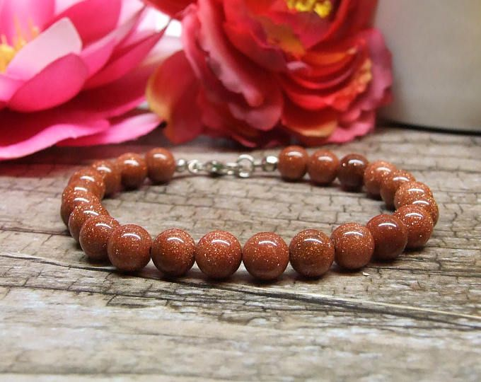 Sandstone bracelet / Natural gemstone bracelet, Fine jewelry, Crystal gemstone, Healing reiki yoga jewelry